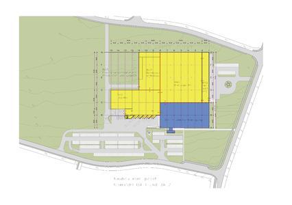 Erster Bauabschnitt (blaue Fläche) wird im März 2016 eingeweiht. Im Frühjahr startet ebm-papst bereits den 2. Bauabschnitt  (gelbe Fläche)