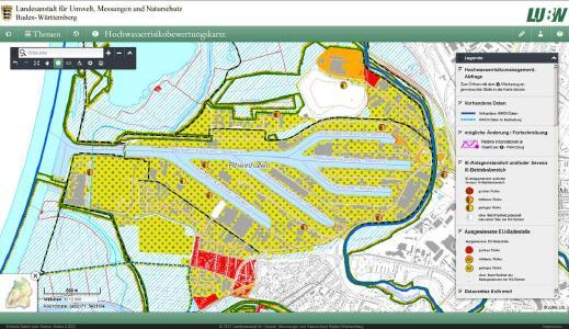 Ausschnitt vom Rheinhafen Karlsruhe aus der neuen Karte Hochwasserrisikobewertungskarte