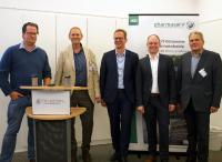 Referenten der Telecom e.V. Tagung am 24.05.2018 am Standort Behringwerke Marburg. V.r.n.l.: Alexander Mai, Helmut Kohl, Dr. Jörg Liebe, Oliver Bohl, Michael Schwyda.