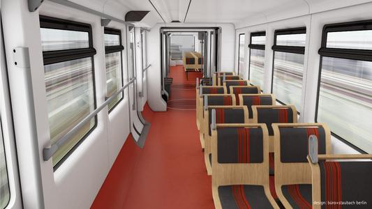 Der Innenraum der neuen Schwebebahnzüge, Farbvariante rot