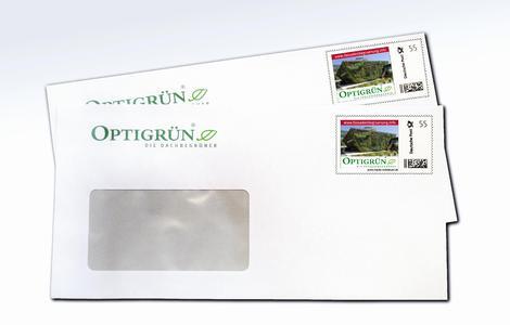 """Mit der Fassadengarten-Briefmarke """"kleine"""" Werbung für die breite Basis"""