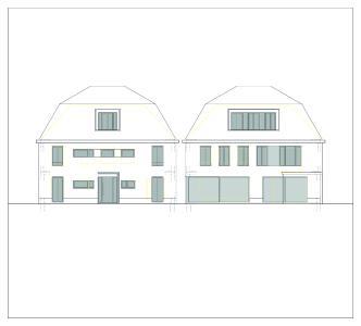 Fassadenansichten mit Anordnung der Lichtöffnungen: Straßenseite (links) und Gartenseite / Bildnachweis: Erika Werres