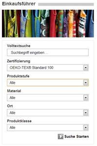 Die Selektionsmöglichkeiten zur Suche nach OEKO-TEX® zertifizierten Produkten und Herstellern wurde vereinfacht