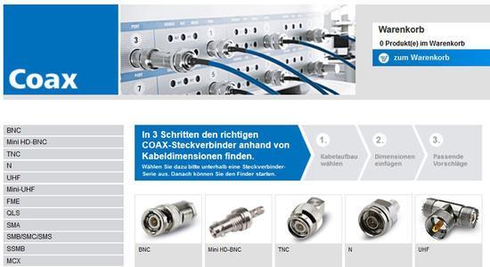 In drei Schritten online zum richtigen Koax-Steckverbinder, das bietet der neue Kabel-Stecker-Finder von Telegärtner.