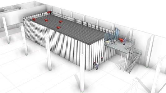 Modellzeichnung: Das neue AutoStore-System für ttv umfasst 15.000 Behälterstellplätze und passt sich sehr gut in die bestehende Lagerinfrastruktur ein