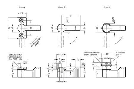 Anschlagriegel GN 702 mit Form A, B und C