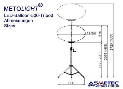 METOLIGHT LED-Ballon-Leuchte 500 W, Maße