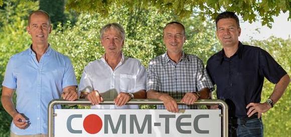 Vlnr: Carsten Steinecker, Geschäftsführer COMM-TEC; Wolfgang Schmiegelt, Geschäftsführer Teracue; Karl-Heinz Wenisch, Geschäftsführer Teracue, Rainer Sprinzl, Geschäftsführer COMM-TEC