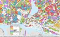 Abb.: Alle Häuser in Deutschland werden den Wohnkonzepte-Segmenten zugeordnet. Beispiel Hamburg. Darstellung hier auf Ebene der Siedlungsblöcke.