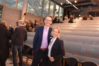 Zwei sichtlich zufriedene Organisatoren, Prof. Dr. Tina Krügel, LL.M. (Juniorprofessorin für Informationstechnologierecht an der LUH) und Prof. Dr. Fabian Schmieder (Professor für Medienrecht an der HsH)