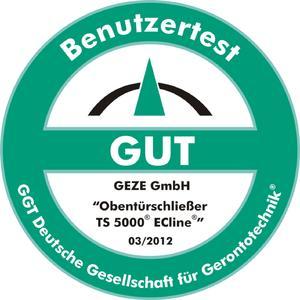 """Auszeichnung von der GGT Deutschen Gesellschaft für Gerontotechnik: Türschließer GEZE TS 5000 ECline mit Gleitschiene mit Prädikat """"gut"""" ausgezeichnet"""