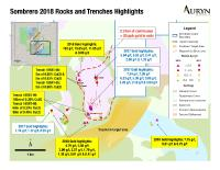Figure 1: Illustrates the position of the copper-gold mineralization encountered in the 2018 trenching program as well as the position of high-grade gold samples across the southern half of the Sombrero property