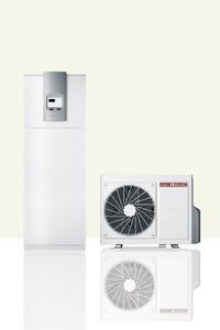 Die Wärmepumpe mit dem dazugehörigen Innenteil, das die elektronische Regelung sowie den 200-Liter-Warmwasserspeicher beinhaltet