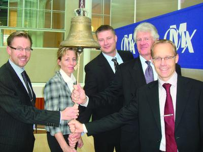 Seit dem 19. Oktober 2007 ist HMS an der OMX Nordic Exchange in Stockholm gelistet. v. l. n. r.: N. Hassbjer (CEO), Carina Landström-Ring (Group Controller), J.Palmhager (COO), G. Högberg (CFO), S. Dahlström (Sales & Marketing Director)