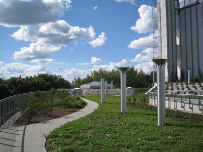Diese Grünanlage befindet sich auf der weitläufigen Dachfläche, welche rings um das Hauptgebäude führt.
