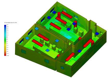 Net radiative heat flux plot of an office space. (Source: SimScale)