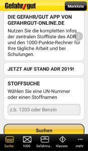 Gefahr/gut App neu mit Stand ADR 2019