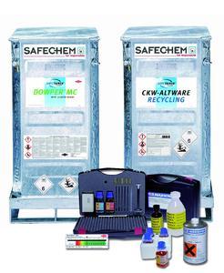 Das SAFE-TAINER System für eine sichere Handhabung und Kreislaufführung der Lösemittel, Service Elemente für die Pflege des Reinigungsprozesses.