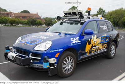 Sting 1, fully autonomous vehicle with sensors - Copyright SAIC 2007