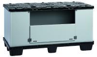 Der MegaPack ALPHA 1500 x 800 x 800 bietet viel Platz für großvolumige, leichte Bauteile. Eine große Ladeklappe an der Längsseite erleichtert die Entnahme der Teile.