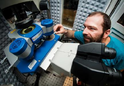 Dr Nic Mullin adjusts a sample on the JPK NanoWizard® 3 AFM system at the University of Sheffield