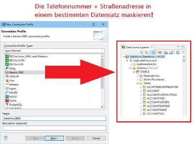 Salesforce Data Source Explorer: Verbindung + Datenmaskierung in Salesforce! IRI Voracity als Werkzeug zur Datenerkennung, -integration, -migration, -steuerung + -analyse nicht nur in/von Salesforce.