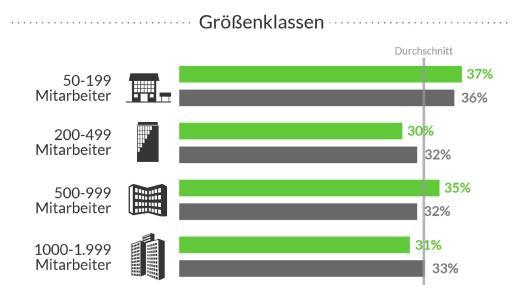 Jeweils über 30 Prozent der Unternehmen aller Größenklassen berichten von Problemen bei der Umsetzung und Software-Unterstützung bei der Erstellung von Zeitplänen / Foto: techconsult, Kassel