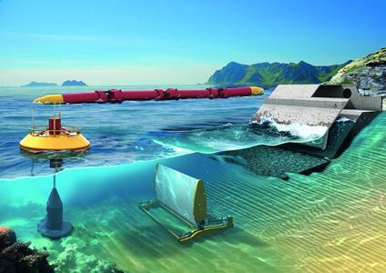 Wellenkraftwerke: Energiegewinnung mit der Kraft des Meeres. Hierbei sind Lagerungen notwendig, die der hohen Korrosionsbelastung im Meerwasser standhalten und die im Idealfall keiner Schmierung durch Öl oder Fett bedür-fen. Als Schmierung fungiert das Meerwasser. Schaeffler treibt die Entwick-lung dieser mediengeschmierten Lager intensiv voran und flankiert dies durch entsprechende Schutzrechtsanmeldungen