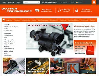 Der neugestaltete Webshop von Waffen Ferkinghoff bietet ein umfangreiches Sortiment für Jäger, Sport- und Hobbyschützen
