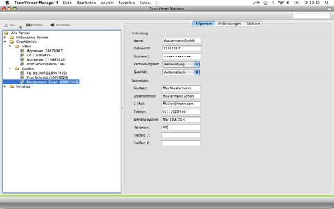 Screenshot TeamViewer Manager für den Mac_Übersicht
