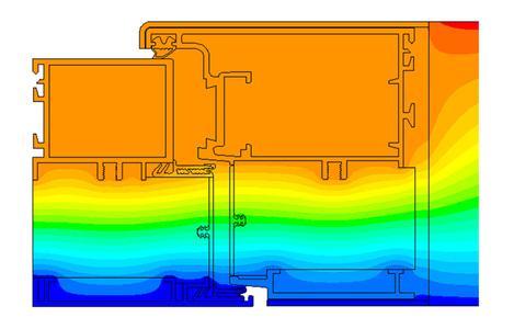 Querschnitt einbruchhemmender Außentüren: Mit Hilfe wissenschaftlicher Simulationsmethoden lokalisierten Fraunhofer-Forscher exakt die Stellen, an denen die Wärme über den Aluminiumrahmen entweicht (dunkle Farbe)