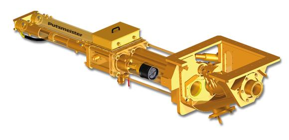 KOS double piston pump with S-transfer tube for coarse grained slurries, pastes and cakes