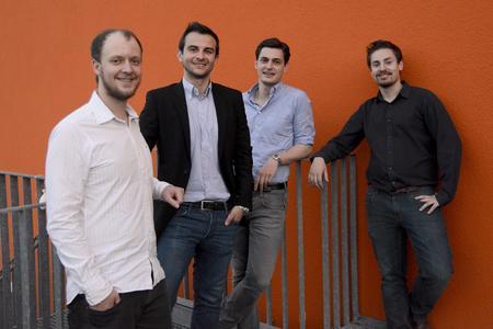 neno BPWN 2014 Prämierung Phase3 - 1 Platz payever Martin Saigger, Viktor Butsch, Artur Schlaht und Patrick Cölle (Bildnachweis: netzwerk nordbayern.)