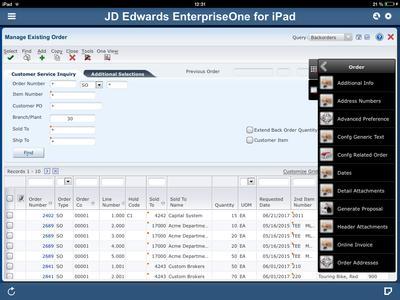 Oracle JD Edwards EnterpriseOne iPad Application
