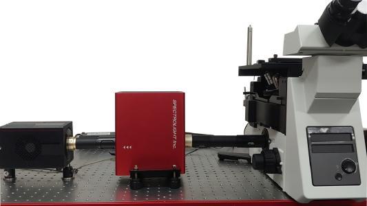 Der Flexible Wellenlängen-Selektor für hyperspektrale Bildgebung (FWS-HSI) von Spectrolight ermöglicht es Mikroskopbenutzern, ein vorhandenes Mikroskop problemlos in ein Mikroskop für hyperspektrale Bildgebung umzuwandeln.