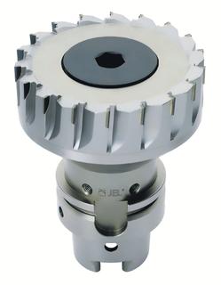 Die erhöhte Zähnezahl der neuen  JEL®  PKD Planfräser, in Abhängigkeit vom Durchmesser, ermöglicht hohe Fräsvorschübe