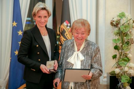 Baden Württemberg economic minister Dr. Nicole Hoffmeister-Kraut awarded Usula Ida Lapp the state's Business Medal.