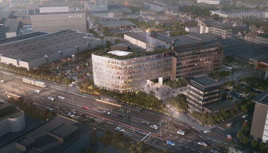 Schüco erweitert seine bestehende Unternehmenszentrale in Bielefeld: Der durch das Architekturbüro 3XN geplante Neubau wird mit eigenen Schüco Systemlösungen realisiert und mit der bisherigen Unternehmenszentrale verbunden (Foto: 3XN Architects)
