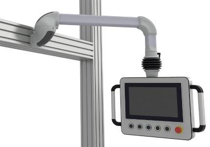 Leicht erreichbar und sicher installiert: Steuer- und Kommandogehäuse müssen heute hohen ergonomischen Anforderungen genügen. Hierbei hilft die Platzierung am Maschinenprofil mittels des Rolec Wandgelenks für das Tragarmsystem profiPLUS / Bild: Rolec Gehäuse-Systeme GmbH