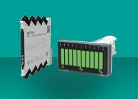 Der Temperaturtransmitter NPT4 (links) ist mit einer Vielzahl von RTD und TC-Sensoren kompatibel. Die ITP15-Balkenanzeige (rechts) visualisiert mit zehn Balken wahlweise lineare Spannungssignale von 0(2)-10 V oder Stromsignale von 0(4)-20 mA