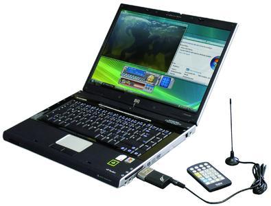 DVB-T-Stick angeschlossen am Notebook