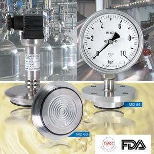 Mess- und Regeltechnik für hygienische Prozesse von AFRISO – auszugsweise hier im Bild die Druckmittler MD 56 und MD 63: Zu sehen auf der Nürnberger Brau Beviale 2012 vom 13.-15. Nov. / Foto: AFRISO