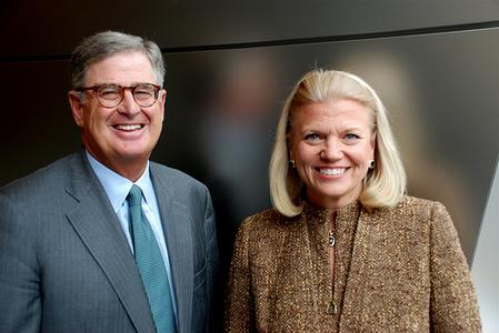 """Samuel J. Palmisano and Virginia M. """"Ginni"""" Rometty at IBM's corporate headquarters in Armonk, N.Y. Rometty, an IBM senior vice president, was elected by the IBM board of directors to become the company's president and ninth CEO on January 1, 2012. Palmisano, currently IBM chairman, president and CEO, has significantly transformed IBM. During his tenure as CEO, the company has delivered record financial performance and breakthrough innovations, such as Watson/Photo: Jon Iwata/IBM"""