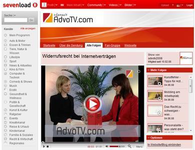 AdvoTV bietet schnelle Hilfe zu Rechtsfragen auf sevenload