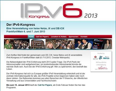 IPv6-Kongress 2013: Call for Papers