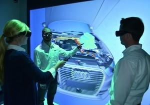 Thanks to Virtual Reality, Audi can virtually simulate assembly processes in immersive 3D and optimize them step by step. Read the related article in Audi's Engineering Blog (in German) (Image courtesy of Audi AG)