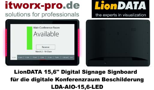 LionDATA 15,6 Zoll Digital Signage Signboard mit LED Bars.