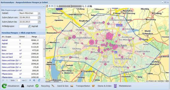 firmApp AuGe: Visualisierung der ausgeschriebenen Mengen je Liefergebiet, tabellarisch sowie über die Größe der Symbole.