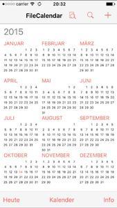 Zu allen Terminen lassen sich Dateien speichern. Dazu werden die Termine des Standardkalenders (Apple-Kalendar) genutzt. Termine können im FileCalendar geändert oder hinzugefügt werden. Eine automatische Synchronisationsfunktion sorgt dafür, dass diese Termine anschließend im Standardkalender zur Verfügung stehen.