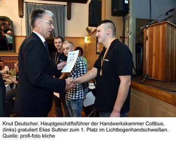 1. Platz für Elias Suttner im Lichtbogenhandschweißen